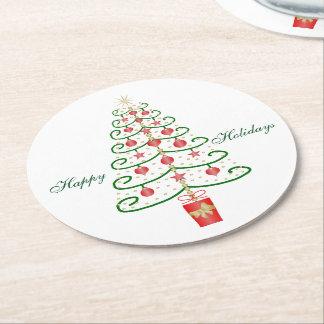 Christmas Tree Christmas Round Paper Coaster