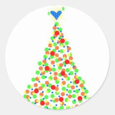 Christmas Tree Classic Round Sticker at Zazzle