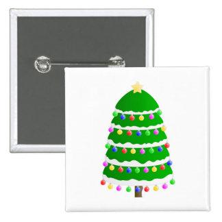 Christmas tree clip art pinback button