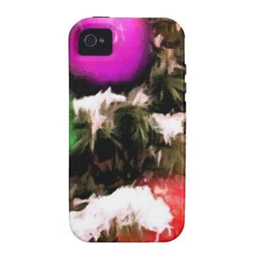 Christmas Tree Colorful Holiday Ornaments Vibe iPhone 4 Cases