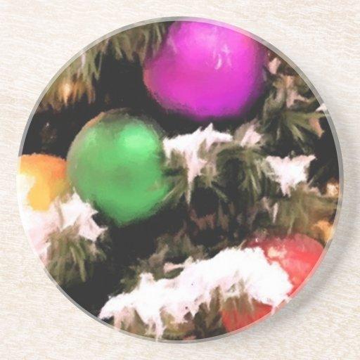Christmas Tree Colorful Holiday Ornaments Coaster