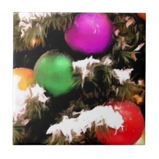 Christmas Tree Colorful Holiday Ornaments Ceramic Tile