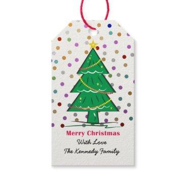 Christmas Themed Christmas Tree Confetti Dots Christmas Holiday Gift Tags