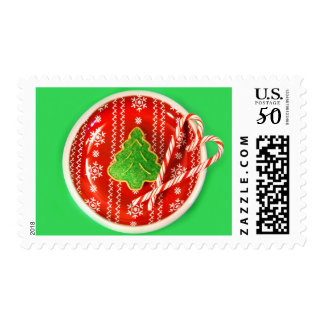 Christmas tree cookie with candy canes postage
