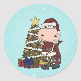 Christmas Tree - Cow Classic Round Sticker