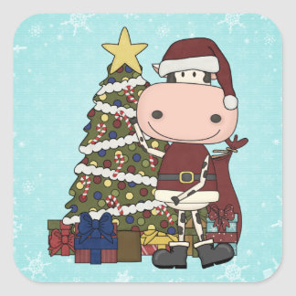 Christmas Tree - Cow Square Sticker