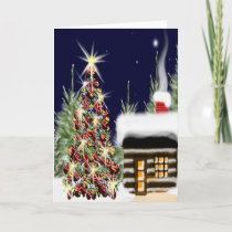 Christmas Tree Cozy Log Cabin Winter Forest Holiday Card