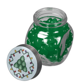 Christmas Tree Cross Stitch Quilt Square Jelly Belly Candy Jars