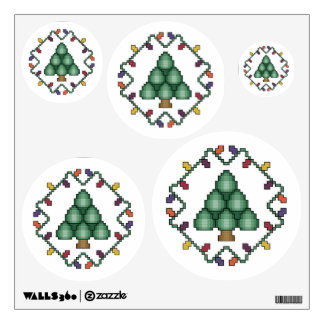 Christmas Tree Cross Stitch Quilt Square Wall Decal