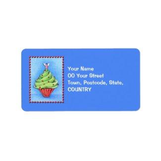 Christmas Tree Cupcake blue Address Label label