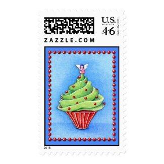 Christmas Tree Cupcake blue Stamp stamp