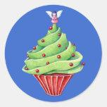 Christmas Tree Cupcake blue Sticker