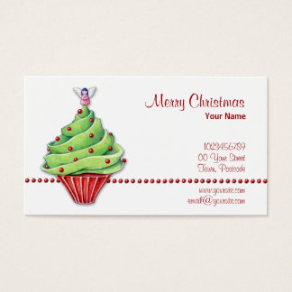 Christmas Tree Cupcake Business Card