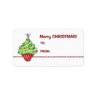 Christmas Tree Cupcake Gift Tag Label label