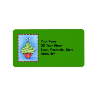 Christmas Tree Cupcake green Address Label label