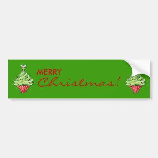 Christmas Tree Cupcake green Bumper Sticker