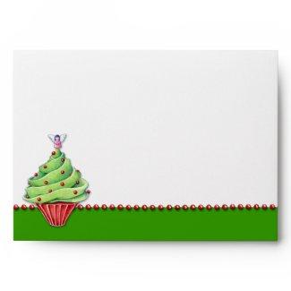 Christmas Tree Cupcake green Card Envelope envelope