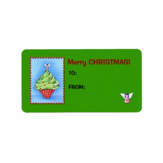 Christmas Tree Cupcake green Gift Tag Label label