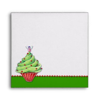 Christmas Tree Cupcake green Invitation Envelope envelope