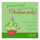 Christmas Tree Cupcake green Party Invitation