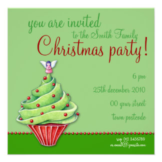 Christmas Tree Cupcake green Party Invitation