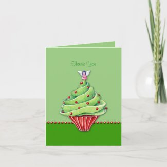 Christmas Tree Cupcake green Thank You Note Card card