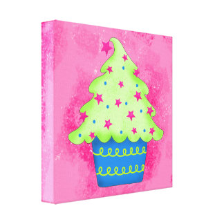Christmas Tree Cupcake Pink Original Art Canvas Print