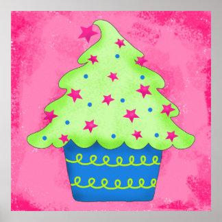 Christmas Tree Cupcake Pink Original Art Print