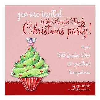 Christmas Tree Cupcake red2 Party Invitation