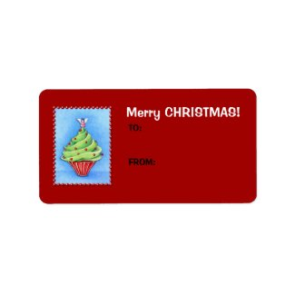 Christmas Tree Cupcake red Gift Tag Label label