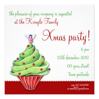 Christmas Tree Cupcake red Party Invitation