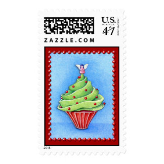 Christmas Tree Cupcake red Stamp