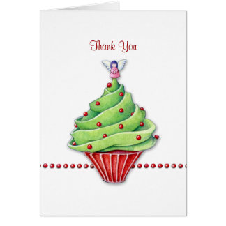 Christmas Tree Cupcake Thank You Note Card