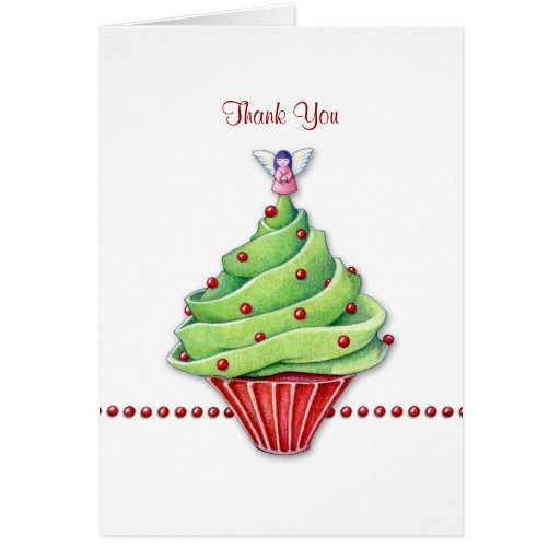 Christmas Tree Cupcake Thank You Note Card Zazzle