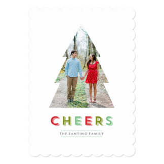Christmas Tree Cut Out Holiday Cheers Card Custom Invitation