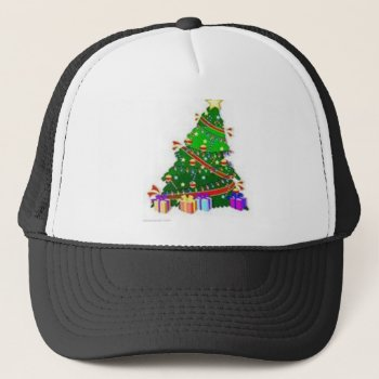 Christmas Tree Decor Wear Trucker Hat by creativeconceptss at Zazzle