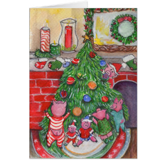 Christmas Tree Decorating with the Piglets Greeting Card