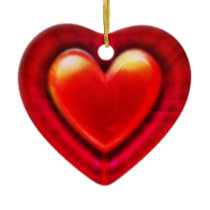 Christmas tree decoration deep red heart.