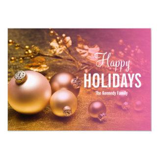 Christmas tree decoration on golden underground 5x7 paper invitation card
