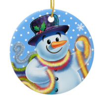 Christmas tree decoration Snowman and tinsel.