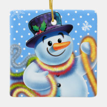 Christmas tree decoration Snowman & tinsel.