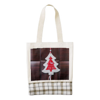 Christmas tree decoration zazzle HEART tote bag