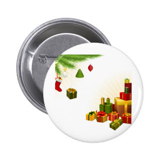 Christmas tree decorations and gifts pinback buttons