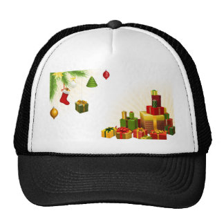 Christmas tree decorations and gifts hat