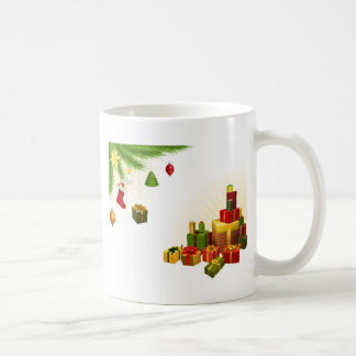 Christmas tree decorations and gifts mugs
