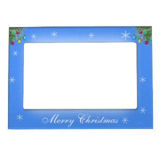 Christmas Tree Decorations and Snowflakes on Blue Magnetic Photo Frame