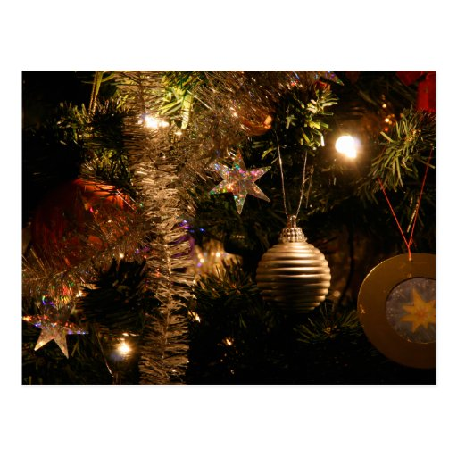 Christmas tree decorations post card