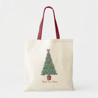 Christmas tree decorations red bows art design tote bag