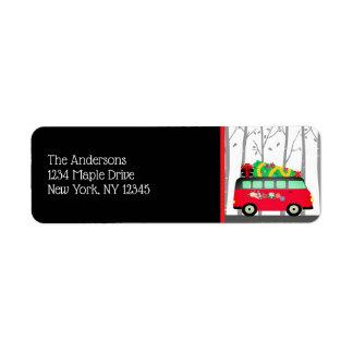 Christmas Tree Delivery Van Return Address Labels