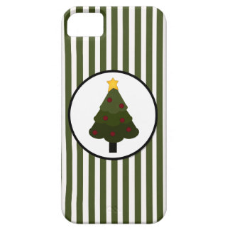 Christmas Tree Design on Green Stripes iPhone SE/5/5s Case